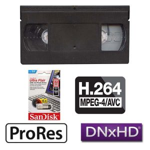 VHS transfer to Digital, Mpeg 4, Pro-Res, DNx